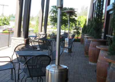 Outdoor patio heating keeps guests comfy at Grass Valley venue.
