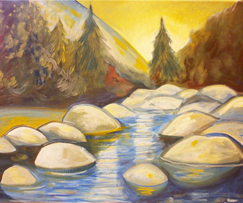 come paint and sip Yuba river acrylic class
