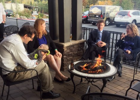 Guests enjoy the Foothills patio